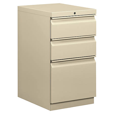 "basyx® by HON® Mobile Pedestal Vertical Filing Cabinet, 3 Drawers, 28""H x 15""W x 20""D, Putty"