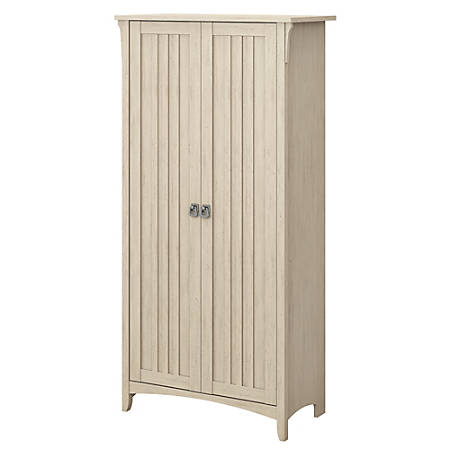 Bush Furniture Salinas Tall Storage Cabinet With Doors Antique White Standard Delivery Item 4991440