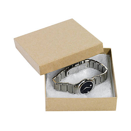 "Partners Brand Kraft Jewelry Boxes 3 1/2"" x 3 1/2"" x 1"", Case of 100"