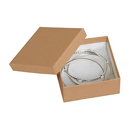 "Partners Brand Kraft Jewelry Boxes 3 1/2"" x 3 1/2"" x 1 1/2"", Case of 100"