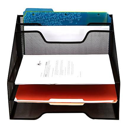 "Mind Reader 5-Compartment Mesh Organizer, 9-1/8""H x 12-1/2""W x 11""D, Black"