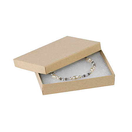 "Partners Brand Kraft Jewelry Boxes 5 1/4"" x 3 3/4"" x 7/8"", Case of 100"
