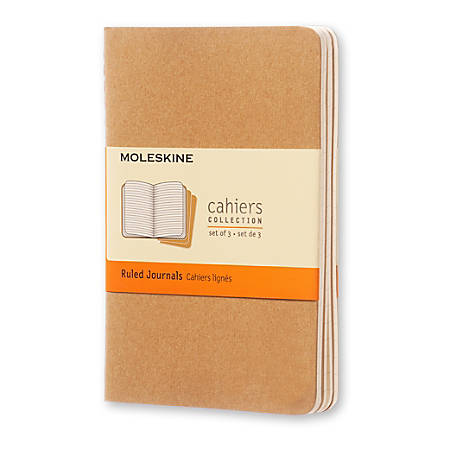 "Moleskine Cahier Journals, 3-1/2"" x 5-1/2"", Faint Ruled, 64 Pages (32 Sheets), Kraft Brown, Set Of 3 Journals"