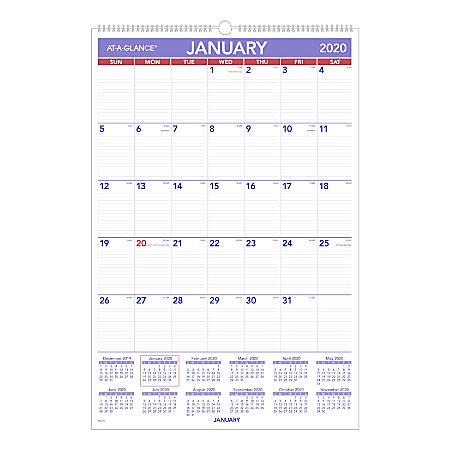 "AT-A-GLANCE® Monthly Wall Calendar, 20"" x 30"", January To December 2020, PM428"