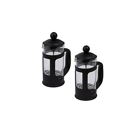 "Mind Reader Single-Serve Glass French Presses, 6 3/4""H x 4 1/2""W x 3""D, Black, Pack Of 2"