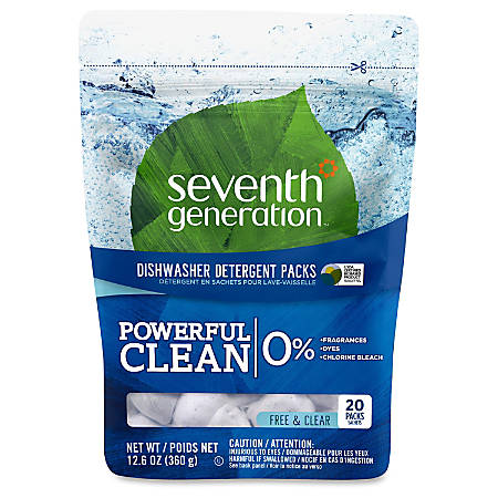 Seventh Generation® Automatic Dishwashing Detergent Concentrated Packs, 14.1 Oz., Pack Of 20