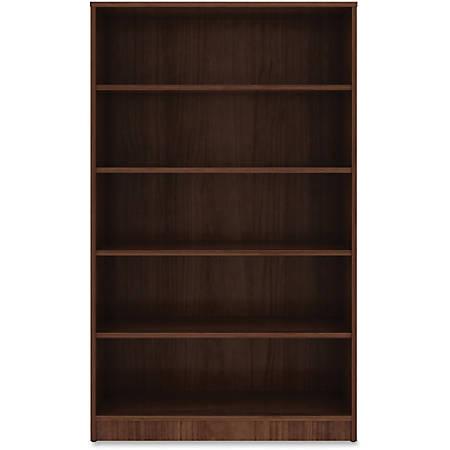 "Lorell® Laminate Bookcase, 5-Shelf, 60""H, Walnut"