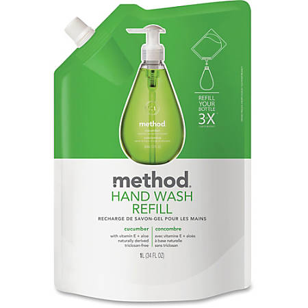 Method Cucumber Gel Hand Wash Refill - Cucumber Scent - 34 fl oz (1005.5 mL) - Squeeze Bottle Dispenser - Hand - Green - Non-toxic - 6 / Carton