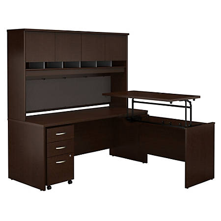 "Bush Business Furniture Components 72""W 3 Position Sit to Stand L Shaped Desk with Hutch and Mobile File Cabinet, Mocha Cherry, Premium Installation"