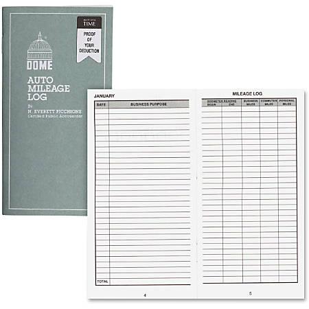 """Dome® Auto Mileage Log, Card Stock Cover, 3 1/4"""" x 6 1/4"""", Gray"""