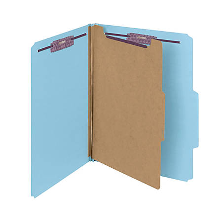 Smead® Pressboard Classification Folder with SafeSHIELD Fastener, 1 Divider, Letter Size, 50% Recycled, Blue