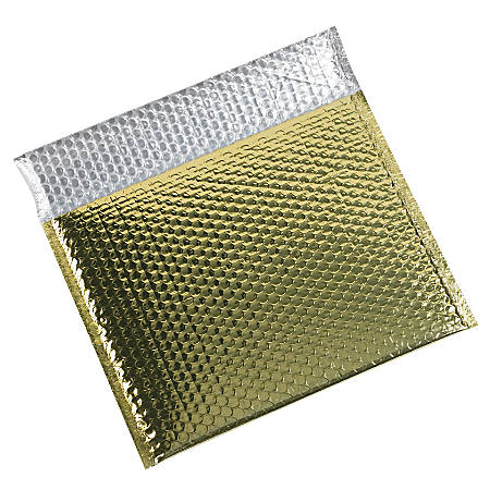 "Partners Brand Gold Glamour Bubble Mailers 13 3/4"" x 11, Pack of 48"