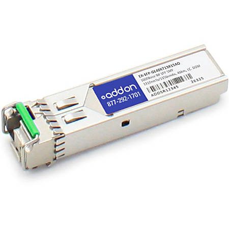 AddOn Juniper Networks EX-SFP-GE40KT13R15 Compatible TAA Compliant 1000Base-BX SFP Transceiver (SMF, 1310nmTx/1550nmRx, 40km, LC, DOM) - 100% compatible and guaranteed to work