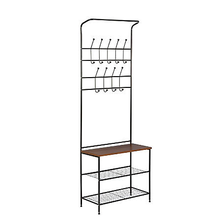 Honey-Can-Do Entryway Storage Valet, Black/Cherry