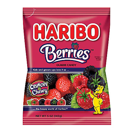 Haribo Raspberry Gummies, 5 Oz, Pack Of 12 Bags