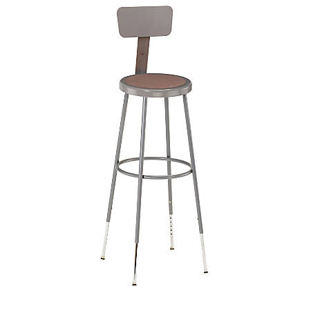 "National Public Seating Adjustable Hardboard Stool With Back, 44 - 53 1/2""H, Gray"