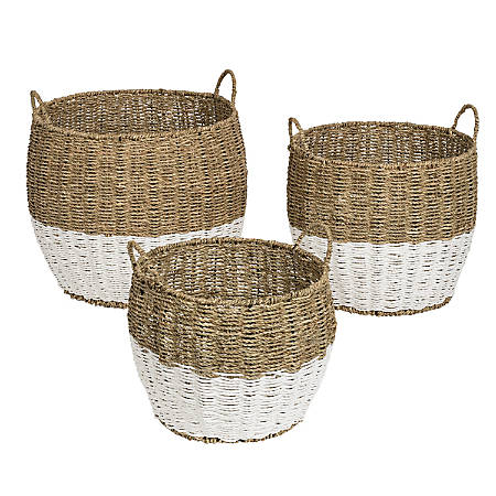 Honey Can Do Round Nesting Seagrass 2-Color Baskets With Handles, Natural & White, Set Of 3