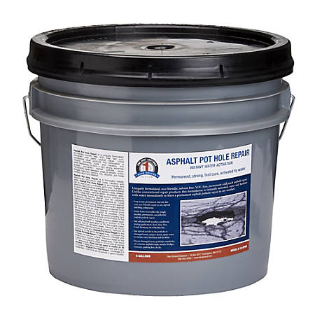 Bare Ground Solutions 1 Shot Asphalt Pothole Repair, 4 Gallons, Black