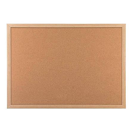 "U Brands Cork Bulletin Board, 36"" x 24"", Birch MDF Frame"