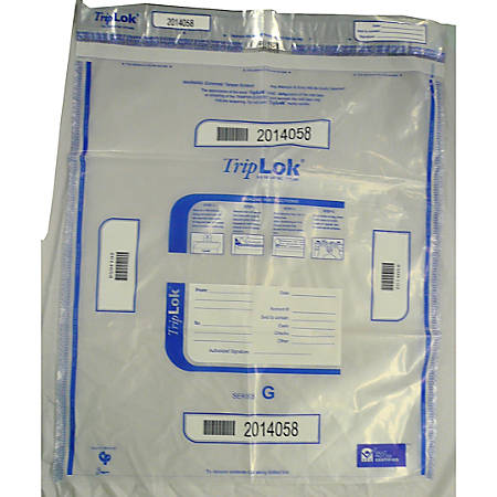 "TripLOK Tamper Evident Security Bags, 20"" x 24"", Clear, Carton Of 250"
