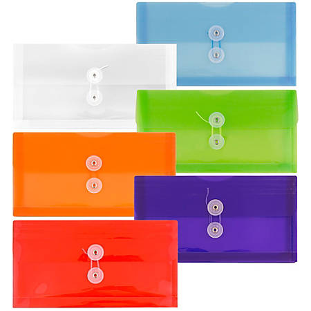 """JAM Paper® Plastic Booklet Envelopes With Button & String Closure, #10, 5-1/4"""" x 10"""", Assorted Colors, Pack Of 6 Envelopes"""
