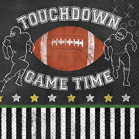 """Amscan Paper Football Game Time Lunch Napkins, 6-1/2"""" x 6-1/2"""", 3 Per Pack, Case Of 36 Packs"""