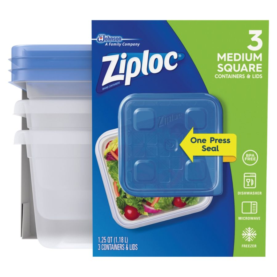 Ziploc Plastic Food Storage Container Set Clear Pack Of 3 by Office