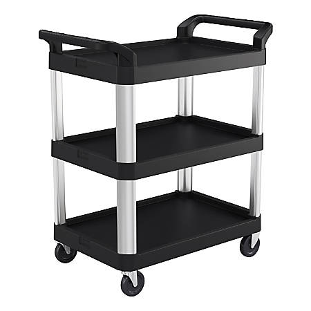 Suncast Commercial 3-Shelf Service Cart, Black/Silver