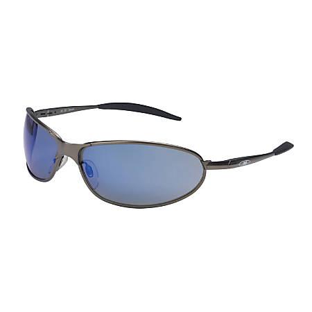 Metaliks GT Eyewear, Blue Mirror Lens, Polycarbonate, Anti-Fog, Bronze Frame