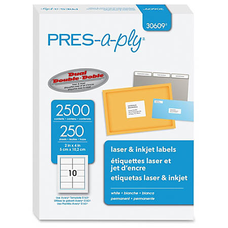 "PRES-a-ply Labels for Laser and Inkjet Printers - Permanent Adhesive - 2"" Width x 4"" Length - Rectangle - Laser - White - 2500 / Box"