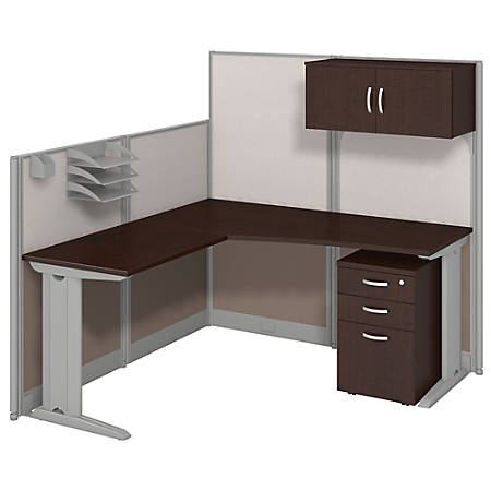 Bush Business Furniture Office In An Hour L Workstation With Storage & Accessory Kit, Mocha Cherry Finish, Premium Delivery