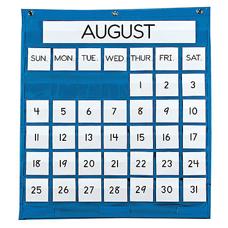 Pacon monthly calendar pocket chart 25 x 28 blue by office depot