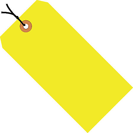 "Office Depot® Brand Fluorescent Prestrung Shipping Tags, #1, 2 3/4"" x 1 3/8"", Yellow, Box Of 1,000"