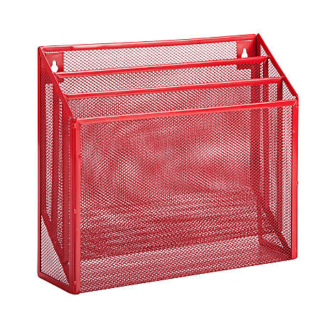 "Honey-Can-Do Vertical File Sorter, 11 1/2""H x 12 5/8""W x 3 5/8""D, Red"