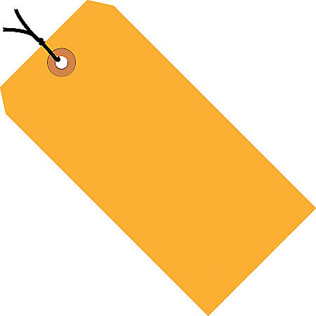 "Office Depot® Brand Fluorescent Prestrung Shipping Tags, #2, 3 1/4"" x 1 5/8"", Orange, Box Of 1,000"