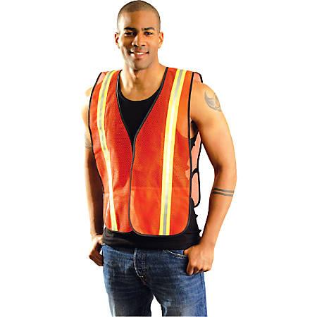 Non-ANSI Economy Mesh Vests with Silver Reflective Tape, Regular, Hi-Viz Yellow