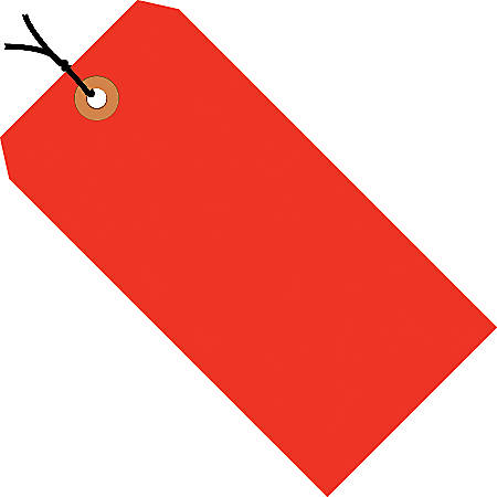"Office Depot® Brand Fluorescent Prestrung Shipping Tags, #3, 3 3/4"" x 1 7/8"", Red, Box Of 1,000"