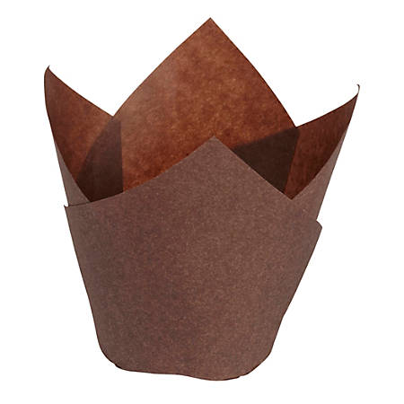 Hoffmaster Tulip Baking Cups, Large, Chocolate Brown, Case Of 2,500 Cups