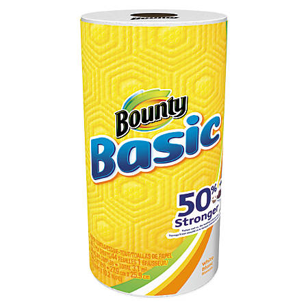 "Bounty® Basic 1-Ply Paper Towels, 10 1/5"" x 11"", White, 44 Sheets Per Roll, Case Of 30 Rolls"