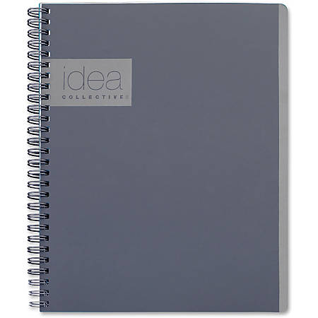 "TOPS Idea Collective Professional Notebook - Twin Wirebound - College Ruled - 6"" x 9 1/2"" - Gray Cover - 1Each"