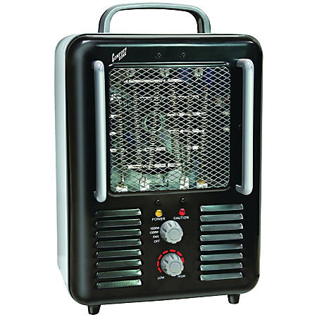 Comfort Zone CZ798BK Deluxe Milkhouse Utility Heater/Fan - Black - Nichrome - Electric - Electric - 1300 W to 1500 W - 1000 Sq. ft. Coverage Area - 1500 W - 120 V AC - 12.50 A - Indoor - Black