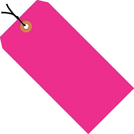 "Office Depot® Brand Fluorescent Prestrung Shipping Tags, #6, 5 1/4"" x 2 5/8"", Pink, Box Of 1,000"