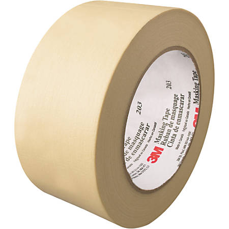 "3M™ 203 Masking Tape, 3"" Core, 2"" x 180', Natural, Pack Of 12"