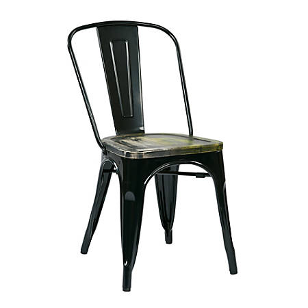 Office Star™ Bristow Armless Chairs with Wood Seats, Ash Crazy Horse/Black, Set Of 2 Chairs