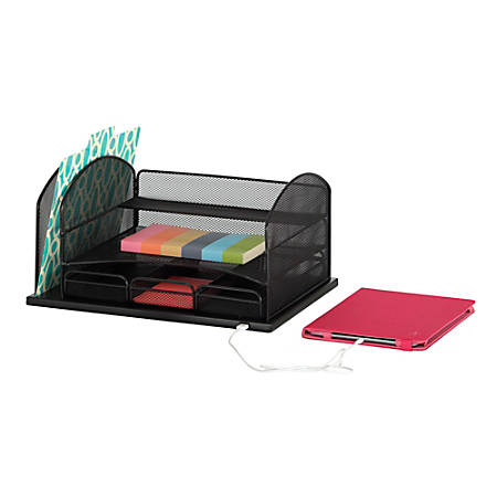 "Safco® USB Powered Onyx™ Mesh Desk Organizer, 3-Drawers, 8 1/4""H x 16""W x 11 1/2"" D, Black"