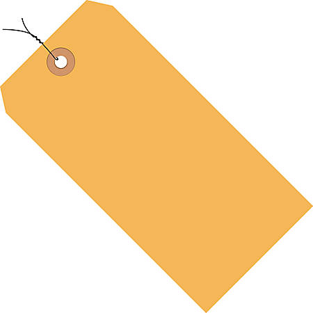 """Office Depot® Brand Fluorescent Prewired Shipping Tags, #5, 4 3/4"""" x 2 3/8"""", Orange, Box Of 1,000"""