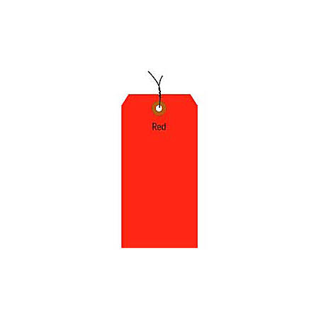 """Office Depot® Brand Fluorescent Prewired Shipping Tags, #6, 5 1/4"""" x 2 5/8"""", Red, Box Of 1,000"""