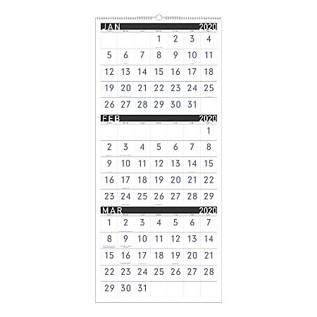 """AT-A-GLANCE® Contemporary 3-Month Reference 15-Month Wall Calendar, 12"""" x 27"""", December 2019 To February 2021, PM11X28"""