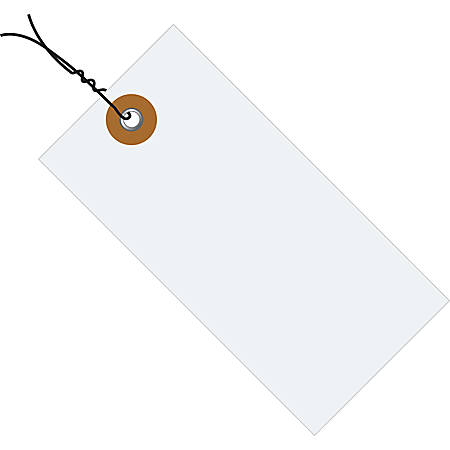 """Tyvek® Prewired Shipping Tags, #8, 6 1/4"""" x 3 1/8"""", White, Box Of 1,000"""