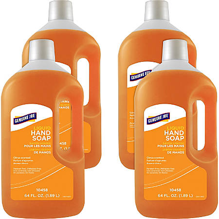 Genuine Joe Liquid Hand Soap - 64 fl oz (1892.7 mL) - Hand - Orange - Moisturizing, pH Balanced, Bio-based - 4 / Carton